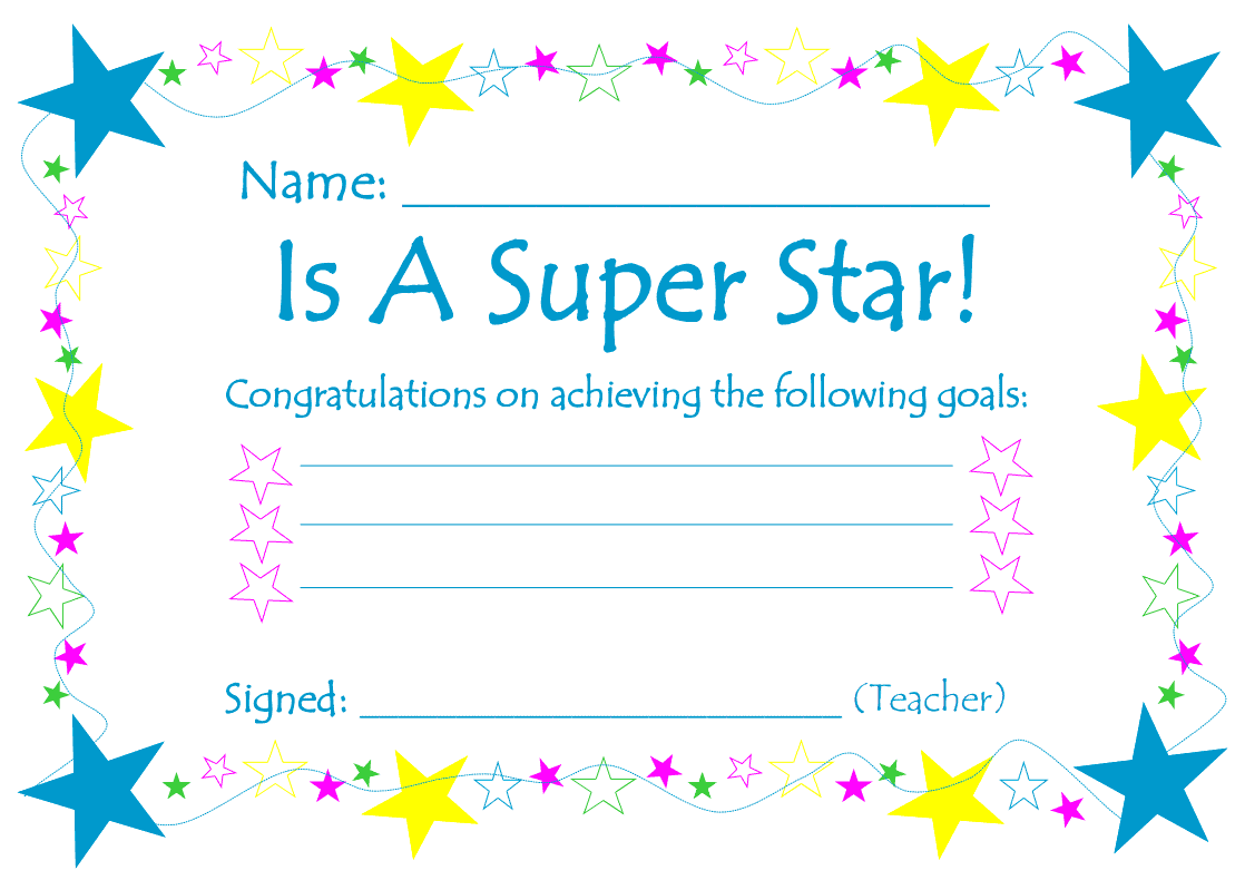 SuperStar Certificate Printable
